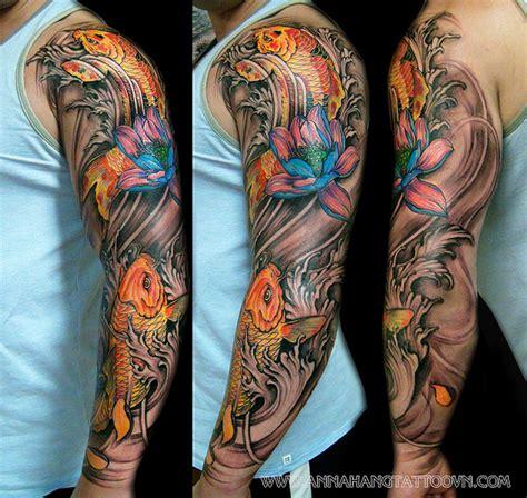 japanische koi tattoo vorlagen full arm koi fish tattoo design tattoos pinterest
