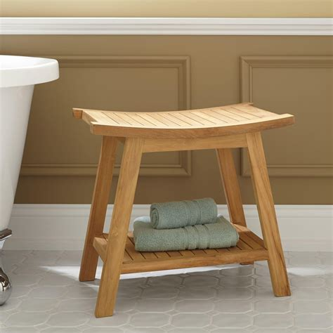 poop bench tandea teak shower stool bathroom