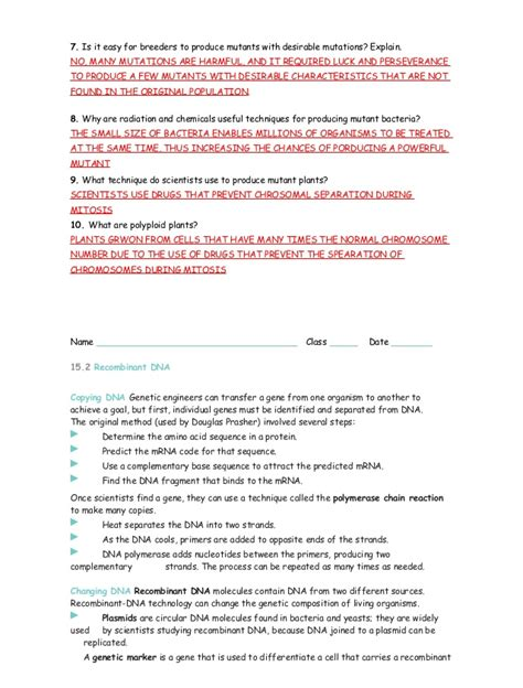 Molecular Biology Worksheet by 15 1 3 Study Guide Ans