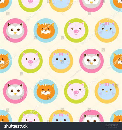 cute animal pattern background seamless pattern baby background with cute round animals