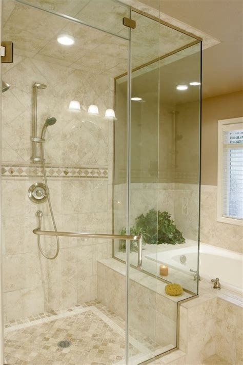 travertine shower corner tub next to shower eric pinterest shower