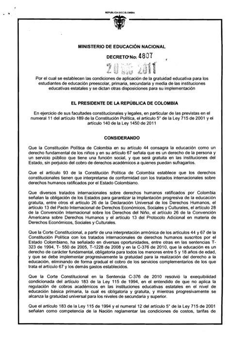 decreto 1069 de 2015 inicio decreto4807 gratuidad 2015