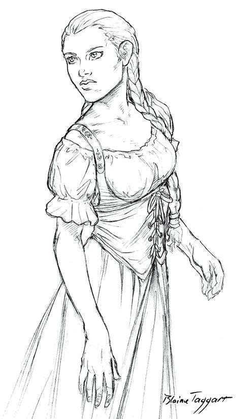 medeival dress drawing template peasant girl  staino