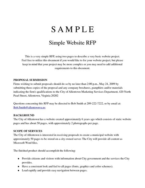 best photos of simple project proposal template word