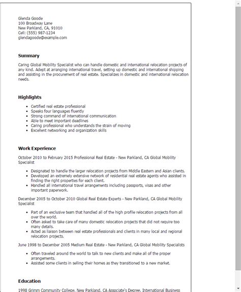 Global Mobility Specialist Cover Letter professional global mobility specialist templates to showcase your talent myperfectresume