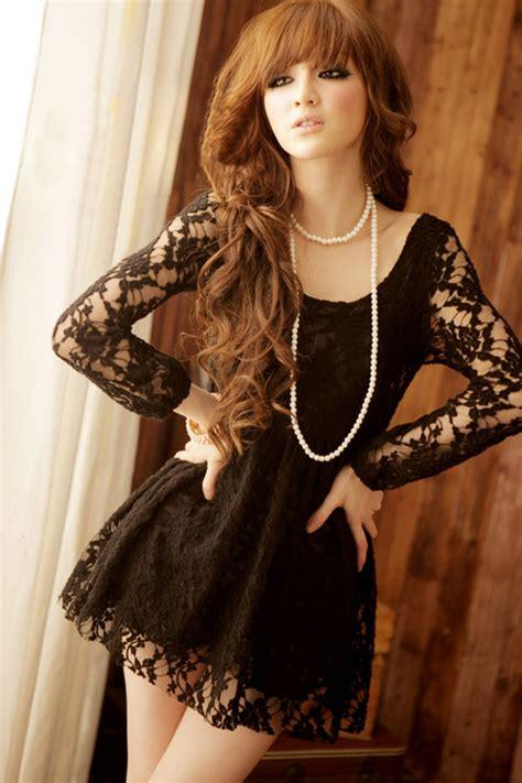 Renda Top By Princess princess waist floral puff sleeve black lace dress 174