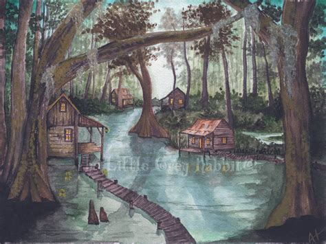 louisiana home decor bayou watercolor sw painting landscape green and brown