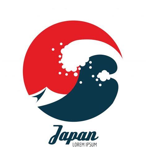 flat icon design japan ocean waves in red circle japanese icon design flat
