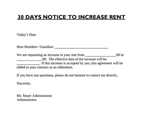 rent increase letter with sample notice of rent increase