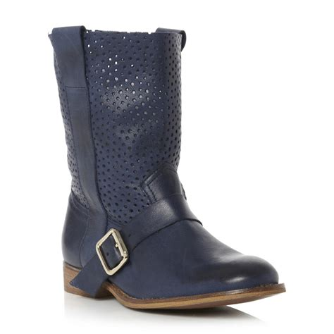 bertie ronda womens navy blue punch ankle