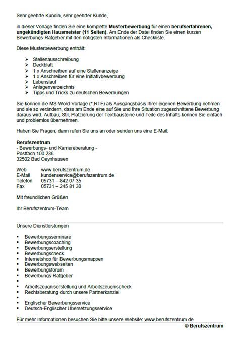 Lebenslauf Vorlage Hausmeister Bewerbung Hausmeister Ungek 252 Ndigt Berufserfahrung Sofort