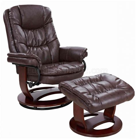 reclining leather chair ottoman savuage brown bonded leather modern recliner chair w ottoman