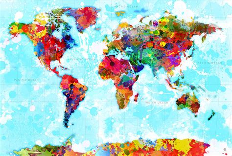 world map spattered paint digital by gary grayson
