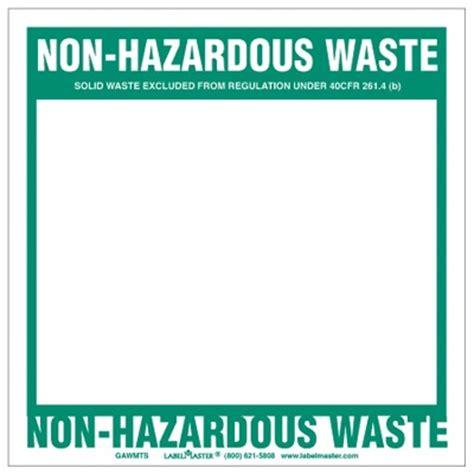 printable hazardous material label non hazardous waste label blank open box vinyl waste