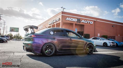 mitsubishi purple spotted wicked wrapped evo x on volk te37s at modauto