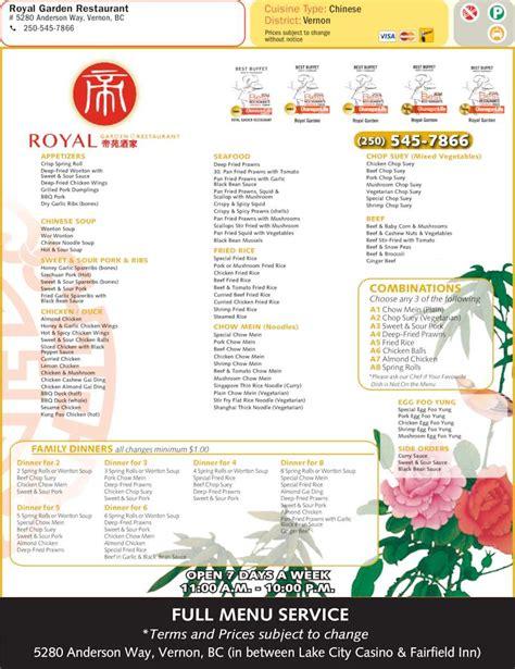 Royal Garden Restaurant Menu by Royal Garden Vernon Bc 5280 Way Canpages