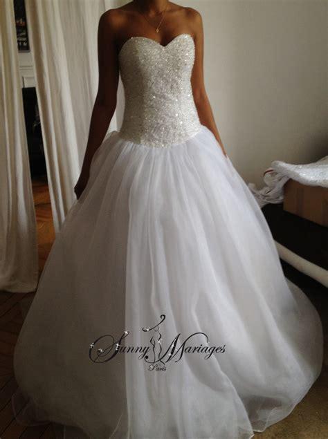 Robe De Mariée Corset Strass - robe de mariee princesse bustier en perles transparente