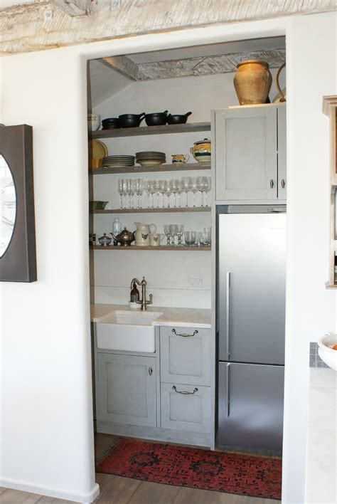 compact butlers pantry  refrigerator interior
