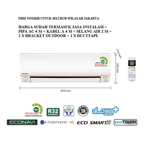Ac Panasonic Alowa Low Watt promo ac panasonic 1 2 pk low watt econavi cs xn5skj freon r32 320 w elevenia