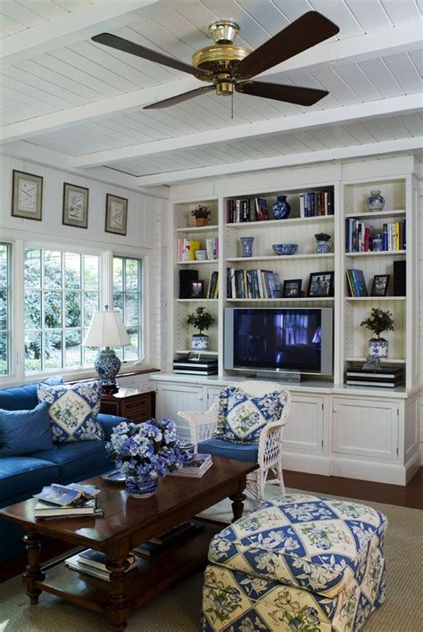 white family room blue and white family room will white panel walls