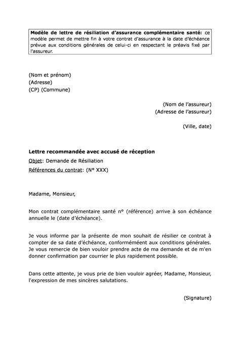 Lettre De Résiliation Mobile Avec La Loi Chatel modele lettre resiliation assurance loi chatel sports et
