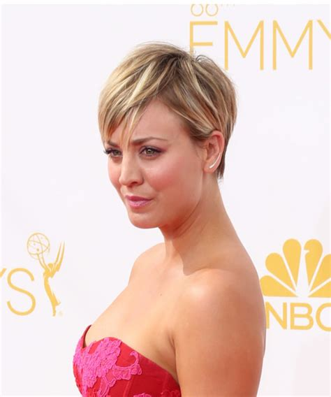 how does kaley cucco style her hair kaley cuoco short straight casual hairstyle medium