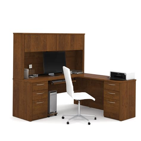 chocolate brown computer desk bestar embassy 71 quot l desk with hutch in tuscany brown