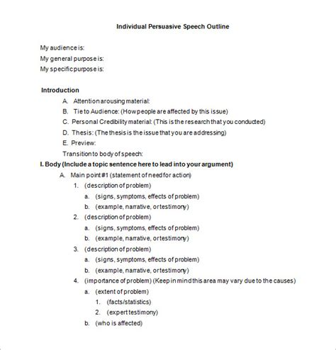Persuasive Speech Outline Template by 8 Speech Outline Templates Free Pdf Word Documents