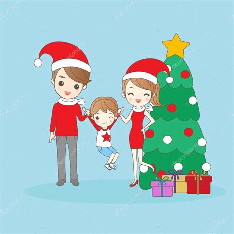 imagenes navideñas de dibujos animados familia de dibujos animados de navidad vector de stock