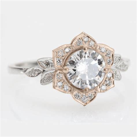 vintage flower ring leaf engagement ring 14k gold