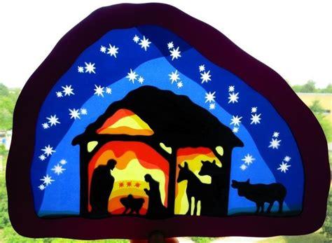 Fensterbilder Weihnachten Kindergarten by Waldorf Gro 223 Es Fensterbild Krippe M 228 Uslein Auf Dawanda