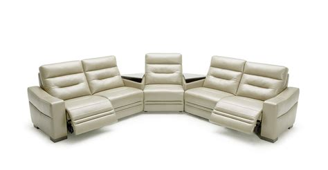 modern grey leather sectional sofa w recliners and
