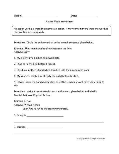 verb worksheets for kindergarten verbs vocabulary