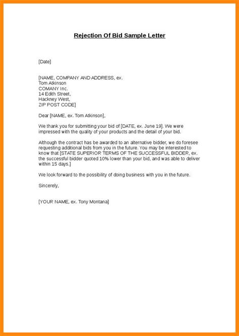 Award Rejection Letter 9 Bid Award Letter Template Resumed