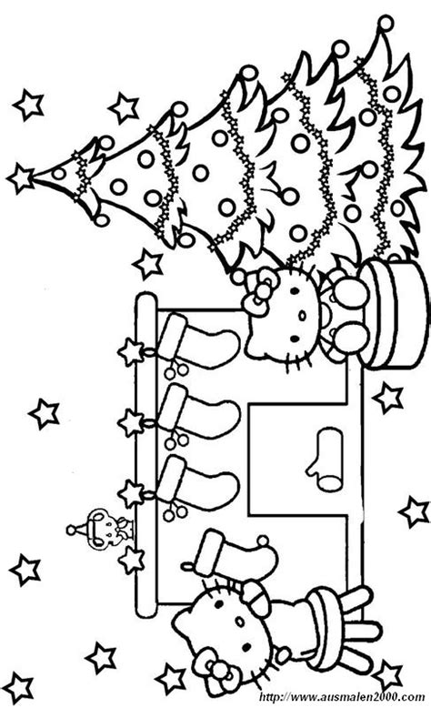 ausmalbilder weihnachten bild hello kitty und weihnachtsbaum