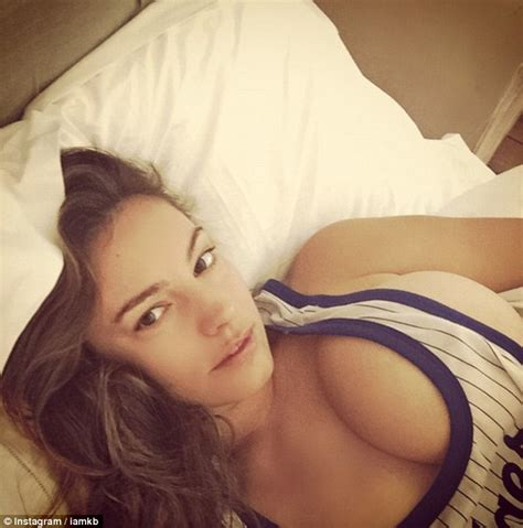 selfie in bed kelly brook poses for racy cleavage baring instagram
