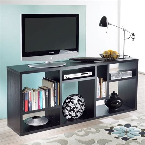 tv stand with bookshelves bookcase tv stand in black woodgrain 7154161