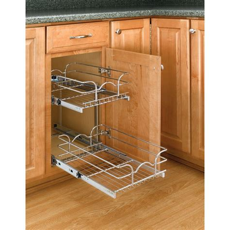 Pull Out Shelving For Kitchen Cabinets Rev A Shelf 19 In H X 11 75 In W X 18 In D Base Cabinet Pull Out Chrome 2 Tier Wire Basket