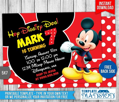 mickey mouse birthday invitation template free mickey mouse invitation template graduations