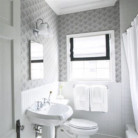 black  white bathroom wallpaper transitional bathroom
