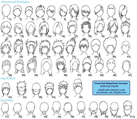 anime hairstyles with names various male anime manga hairstyles by elythe on deviantart
