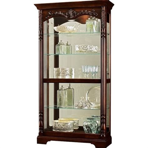 Distressed Curio Cabinet by Howard Miller Roslyn Curio Cabinet In Distressed Worn Black