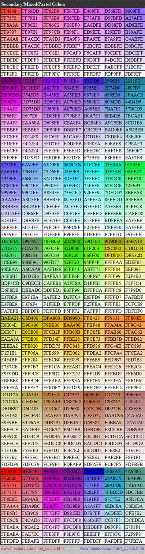 printable html color codes complete html true color chart table of color codes for