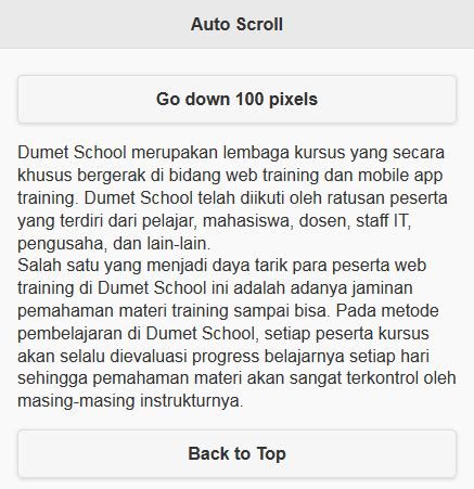 Auto Scroll Down Jquery by Membuat Tombol Auto Scroll Di Jquery Mobile