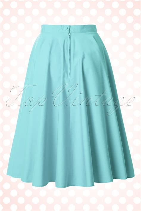 blue swing skirt 50s paula swing skirt in aqua