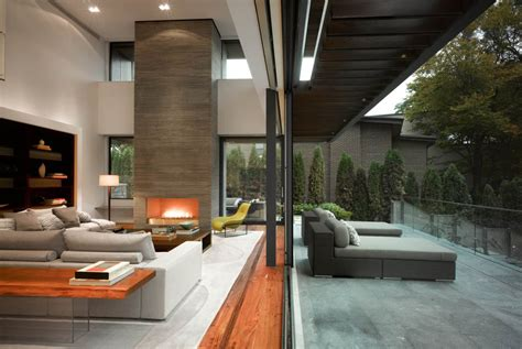 impressive modern home in toronto canada terrace living space fireplace impressive modern home