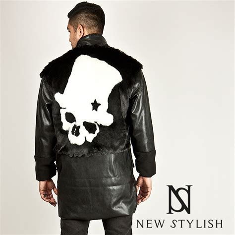 Jaket Longskull outerwear sold out back skull fur accent leather