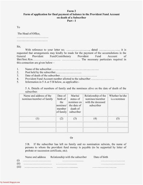 Request Letter Sle For Provident Fund Revision Of Forms The General Provident Fund Central Services 1960 And