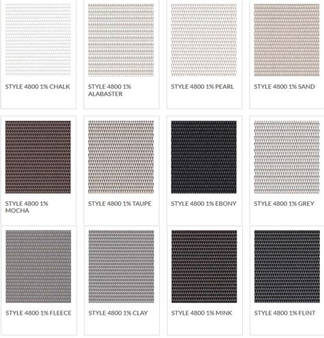 color shades blackout shade color chart
