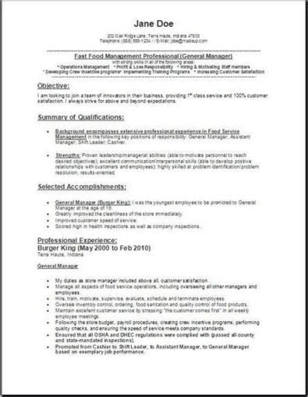 Fast Food Manager Resume by Fast Food Manager Resume Occupational Exles Sles